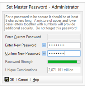 Set the master password window
