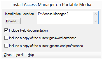 Install Access Manager on portable media